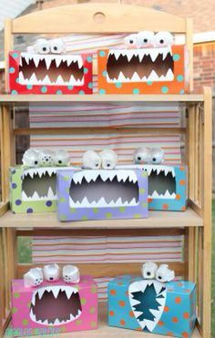"•Tissue Box Monster• or •Tattle Monsters•  ""Found on a site called Giggles Galore and they are called Tattle Monsters, they are meant as a point for children to leave notes about their day and how they feel. It would be brilliant for a halloween party craft or for a large group of kids. All you need is a tissue box, paint, old egg box, white paper or fun foam, any other decorations!"" From daisydays.hubpages.com"
