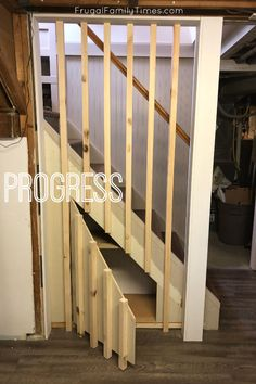 Who doesn't need more storage?! We devised a DIY stair railing that looks sleek and modern and has a secret: hidden storage under stairs! Our basement stairs look great, are safe and hide some bulky items! Full how to tutorial here.