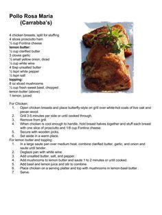 Carrabba's Italian Grill: Pollo Rosa Maria Low Sugar Recipes, New Recipes, Cooking Recipes, Favorite Recipes, Chicken Pork Recipe, How To Cook Chicken, Chicken Recipes, Italian Recipes, Mexican Food Recipes