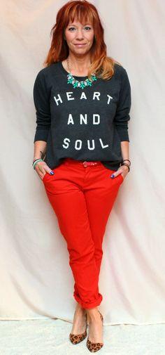 Fashion Fairy Dust: graphic sweatshirt, red khakis, leopard print pumps, statement necklace, Old Navy, GAP