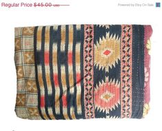 ON SALE Vintage Throw Kantha Quilt alias Ralli by MatureSourcing, $40.50
