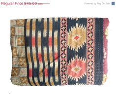 ON SALE Vintage Throw Kantha Quilt alias Ralli by MatureSourcing, $40.50