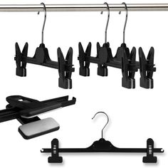 Amazon.com: Hangerworld Pack of 30 Black Plastic Clip Hangers Metal Hook, Pants, Skirt Coat Clothes Hanger 14 Inches: Home & Kitchen