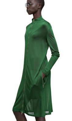 Maci long, sheer, zip front coat in grass green #AcneStudios #SS15