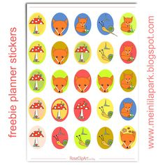 Free printable fox planner stickers - oval - ausdruckbare Sticker - freebie | MeinLilaPark