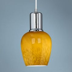 This pretty amber art glass pendant light will add a touch of color to your home decor. Style # at Lamps Plus. Island Pendant Lights, Kitchen Pendant Lighting, Mini Pendant Lights, Modern Pendant Light, Glass Pendant Light, Glass Pendants, Chrome Finish, Glass Shades, Euro