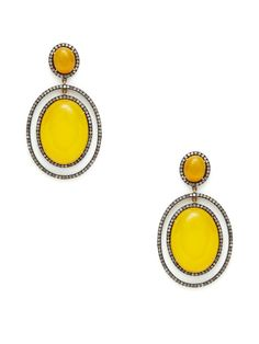Yellow Chalcedony Multi-Oval Drop Earrings by J/Hadley at Gilt