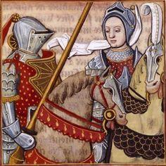 LXXVIII-Hypsicrateia, reine du Pont, accompagnant l'armée (HYPSICRATEA, Queen of Pontus) -- Giovanni Boccaccio (1313-1375), Le Livre des cleres et nobles femmes, v. 1488-1496, Cognac (France), traducteur anonyme. -- Illustrations painted by Robinet Testard -- BnF Français 599 fol. 67