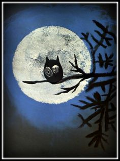 Black construction paper. A circular template for the moon. Blue chalk pastel smudged to make a haze. White sponge painting the moon, leaving some black paper to show through. Practice black branches first before final version. Add a black owl with big eyes.