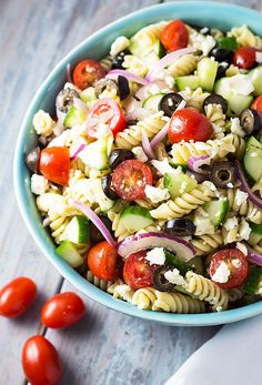 Greek Pasta Salad full of fresh veggies, pasta with an easy homemade vinaigrette | theblondcook.com