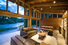 cz: LOVE the glass, openness to outside, and wood  Woody Creek cabin on the rivers edge