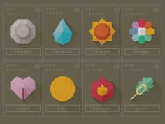 Flat shadowed icons inspired by Pokémon Gym Badges by Andrew Kapish
