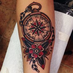 Image result for traditional compass and flower tattoo