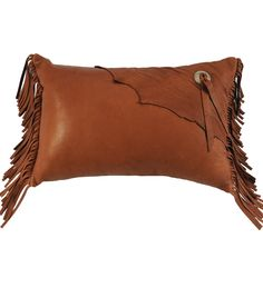 """18"""" x 12"""" Rectangle Deerskin throw pillow with decorative natural edge flap, concho, tie and fringe"""