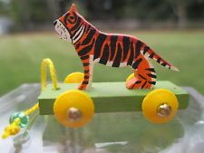 McDowell - hand painted wooden tiger pull toy