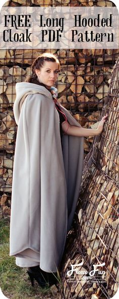 Long Hooded Cloak with pattern and DIY Tutorial!  This long hooded cloak…