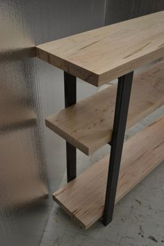 "Ambrosia Maple Console Table With Industrial Steel Legs (168cm x 30cm x 90cm / 68"" x 12"" x 36"")"