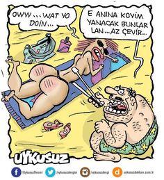 - Oww... What yo doin... + E anına koyim yanacak bunlar lan... Az çevir...  #karikatür #mizah #matrak #komik #espri #cızbız World Wallpaper, English Memes, Comic Strips, Funny Photos, Joker, Humor, Adriana Lima, Caricatures, Turkey