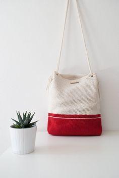 Crochet cartera bolso precioso mi crema blanco y rojo Barcelona con asas de algodón