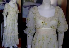RARE Vintage GUNNE SAX Long Cream Lace and Floral Dress Sunflower Daisy Design Calico Great Condition Prairie Victorian Steampunk by WestCoastVintageRSL, $158.00
