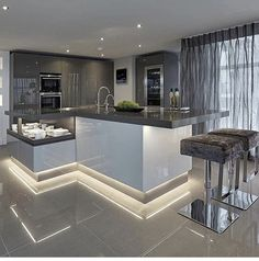 Luxury Kitchen Clean, sleek and stylish characterizes the modern kitchen. Cabinets in matt or gloss and mostly handless. A touch of wood or marble you can totally personalize it to your taste. Luxury Kitchen Design, Dream Home Design, Interior Design Kitchen, House Design, Apartment Interior Design, Interior Design Tips, Interior Doors, Interior Paint, Interior Ideas