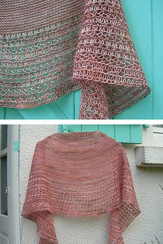 Ravelry: Rosewater shawl in (Vi)laines Faces-Bleues & Soie - knitting pattern by Janina Kallio.