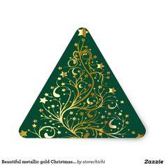 Beautiful metallic gold Christmas tree on green