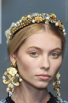 """Romantic Baroque"" by Dolce & Gabbana - add pearls, diamante, jewels onto a black headband"