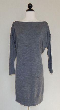 ANN TAYLOR NWT $130 Gray Merino Wool Gathered Shoulder Dolman Sweater Dress Sz M #AnnTaylor #SweaterDressTunic #Casual