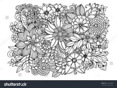 Floral doodle pattern in black and white. Zentangle drawing. Flower carpet in magic garden