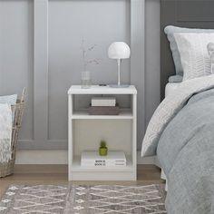 Mainstays Classic Open Shelf Nightstand with USB Charging Ports, White Shelf Nightstand, Dresser Storage, Low Shelves, Open Shelving, Home Bedroom, Bedroom Furniture, Shelf Furniture, White Furniture, Girls Bedroom