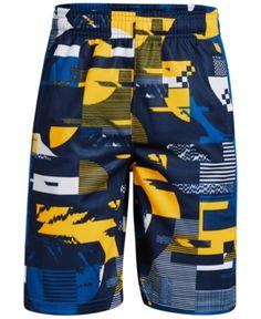 3966111f38 Under Armour Big Boys Printed Baseline Shorts - Blue M (10/12) Boys