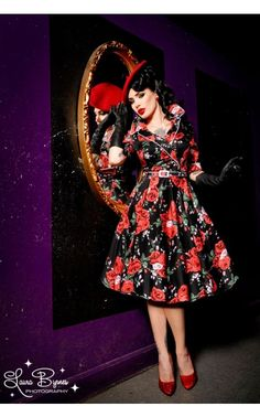 Haunted Housewife Dress in Red Rose Print