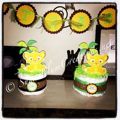 Baby Simba Diaper Cake Mini by 661kara on Etsy, $9.00..cute idea for the tables