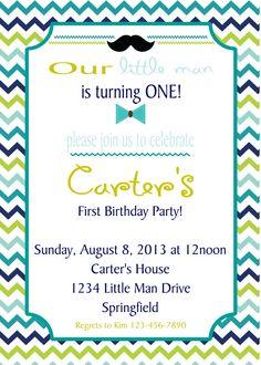 Little Man Birthday Invitation - Print Your Own. $8.00, via Etsy.
