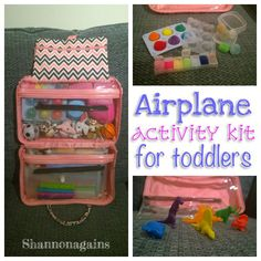 airplane activity kit for toddlers - Shannonagains How did we survive an transatlantic flight with a toddler? With lots of cheap and cheerful toys to keep her entertained. Toddler Travel Activities, Road Trip Activities, Infant Activities, Travel Toys For Toddlers, Airplane Travel, Car Travel, Airplane Games, Traveling With Baby, Travel With Kids