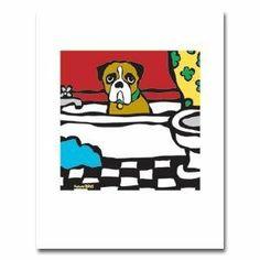 Boxer Bath picture 8x10 - $19 http://www.amazon.com/gp/product/B001GPD80M/ref=as_li_ss_tl?ie=UTF8&camp=1789&creative=390957&creativeASIN=B001GPD80M&linkCode=as2&tag=daibox-20 #boxerbath