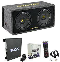"""Kicker 40DCWS122 12"""" 1200W Car Subwoofers Sub Enclosure + Amp + Capacitor + Wire http://caraudio.henryhstevens.com/shop/kicker-40dcws122-12-1200w-car-subwoofers-sub-enclosure-amp-capacitor-wire/ https://images-na.ssl-images-amazon.com/images/I/51HBtALwA2L.jpg"""
