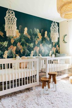 Palms to Pines Nursery Reveal | Romy and Piper | Twin Girls Bohemian Tropical Nursery | summer nursery room inspirations | tropical nursery room inspirations |