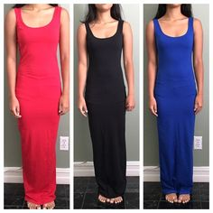 maxi dress Beautiful maxi dress. Never worn besides when modeling. Very fitted, shows off curves, or cute w/ a bathing suit under. The dress is narrow at the bottom u can always add a slit. model is 5'2