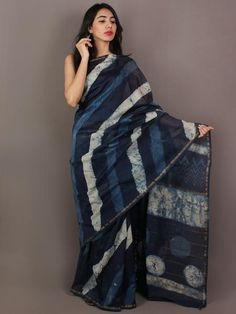 Indigo Blue Ivory Blue Hand Block Printed in Natural Colors Chanderi Saree - S031701093