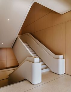 Apple design chief Jony Ive takes us on a tour of Apple's new Foster + Partners-designed HQ in California's Silicon Valley and the disappearing iPhone Entryway Stairs, Interior Staircase, Interior Architecture, Interior Design, Stair Handrail, Staircase Railings, Stairways, Railing Design, Staircase Design