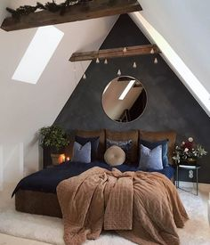 Small Loft Bedroom, Small Loft Spaces, Small Attic Room, Attic Master Bedroom, Attic Bedroom Designs, Loft Room, Bedroom With Ensuite, Master Bedroom Design, Large Bedroom