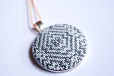 Hand woven pendant black and white twill by kellycasanovaart
