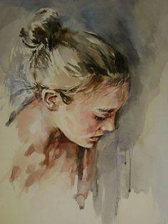 Buy Portrait Watercolour by Boyana Petkova on Artfinder. Watercolor Portrait Painting, Portrait Sketches, Art Poses, Female Portrait, Drawing People, Paintings For Sale, Lovers Art, Cool Art, Nice Art