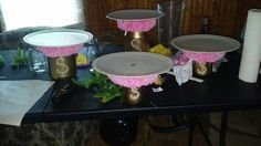 Shabby chic baby shower food stands