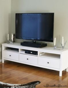 Tv Stand New and improved: our TV stand, the IKEA Hemnes! DIY TV Console Staggered Wood Console New and improved: our TV stand, the IKEA Hemnes! Ikea Hemnes Tv Stand, Ikea Stand, Mindful Gray, Living Room Tv, Living Room Remodel, Tv Ikea, Bedroom Walls, Bedroom Ideas, White Tv Stands