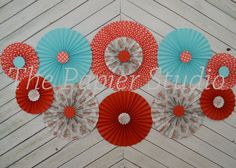 Set of 11 (ELEVEN) Vintage Inspried Red and Turquoise paper fans/rosettes, decorations for Girl Baby Shower,Birthday Party or Wedding on Etsy, $35.95