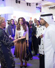 The Jordanian and Dubai Royal Courts: Queen Rania attend Global Womens Forum in Dubai
