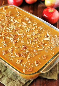 Loaded with fresh apples, iced with boiled caramel topping, and studded with crunchy pecans, Old-Fashioned Apple Cake is one stunningly delicious apple dessert. Dump Cake Recipes, Apple Cake Recipes, Apple Desserts, Baking Recipes, Delicious Desserts, Dessert Recipes, Apple Cakes, Easter Desserts, Delicious Dishes